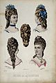 The heads of four women wearing chignons with large curls at Wellcome V0019886EL.jpg