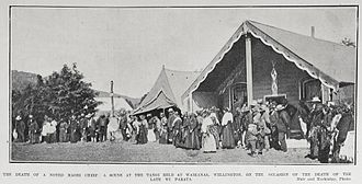 Waikanae - The tangi for Minister of the Crown Wi Parata was held at Waikanae Marae in 1906