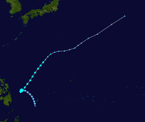 1971 Pacific typhoon season - Image: Thelma 1971 track