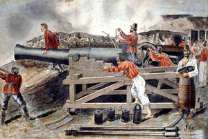 George Thompson (engineer) - Angostura battery: The two officers, one calculating the elevation and the other watching, are the commander Lucas Carrillo and George Thompson.  By the Argentine general and watercolourist José Ignacio Garmendía (1841-1925).