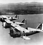 Three Grumman F3F-2 of VMF-2 flying in formation in the late 1930s.jpg