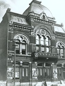 The original architectural facade of Tibbits Opera House