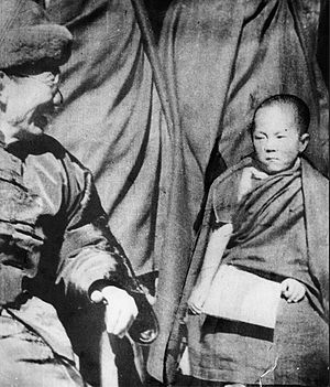 Wu Zhongxin - Wu Zhongxin, Republic of China's Chairman of the Mongolian and Tibetan Affairs Commission with Lhamo Dhondup, the future 14th Dalai Lama in Amdo about 1940. A ransom was paid to Ma Bufang to release the boy and his family to go to monastic education in Lhasa.