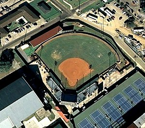 Tiger Park (1997) - Aerial photo of old LSU Tiger Park softball stadium