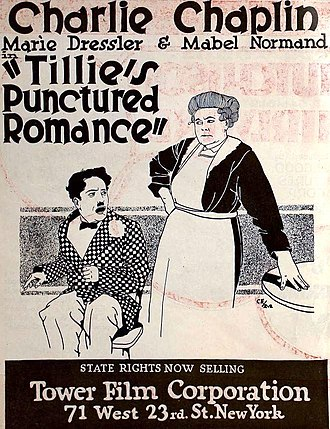 Tillie's Punctured Romance (1914 film) - Re-release poster with different billing