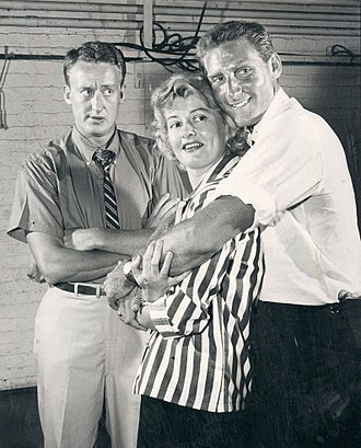 Constance Ford - Tom Poston, Constance Ford, and Robert Elston in the Broadway production of Golden Fleecing (1959), written by Lorenzo Semple Jr.