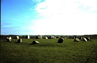 Wigtown - Torhouse Stone Circle dating from 2nd millennium BC, is one of the best preserved sites in Britain. It is approx. 60ft in diameter.