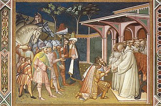 Benedict of Nursia - Totila and Saint Benedict, painted by Spinello Aretino.
