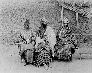 Toucouleur people - A Toucouleur interpreter called Alpha Sega with his sisters.  Image taken in 1882.