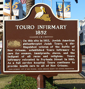 Jewish American Society for Historic Preservation - Touro Infirmary Marker