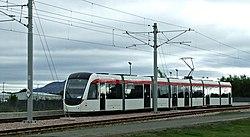 Tram leaving Edinburgh Airport station (geograph 3676807).jpg