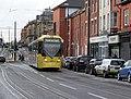Tram on Union Street, Oldham, looking west, geograph-3808797-by-Alan-Murray-Rust.jpg
