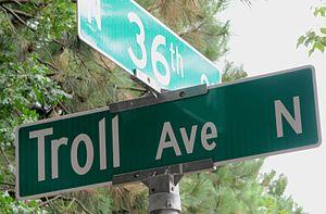 "Fremont Troll - Sign for ""Troll Avenue"""