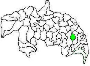 Tsundur mandal - Mandal map of Guntur district showing   Tsundur mandal (in green)