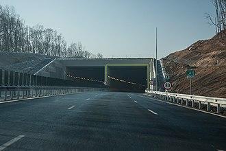 A1 motorway (Romania) - A1 motorway Sibiu – Săliște segment – Săcel Tunnel at km 264 (westbound view)