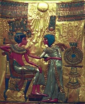 Aten - The Aten depicted in art from the throne of Tutankhamun, perhaps originally made for Akhetaten