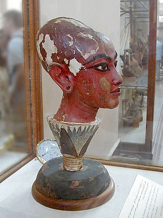 Head of Nefertem - Tutankhamun as Nefertem emerging from a blue lotus bloom, Egyptian Museum, Cairo