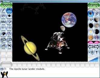 Tux Paint - A space scene using Tux Paint Rubber Stamps