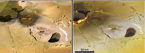Active lava flows in volcanic region Tvashtar Paterae (active flows at left drawn in to replace saturated areas in the original data). Images taken by Galileo in November 1999 and February 2000.
