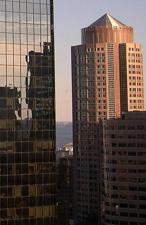 Two International Place - Two International Place reflected in the walls of Exchange Place