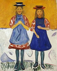 Deux Filles au tablier bleu