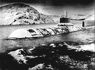 Typhoon-class submarine - Typhoon-class submarine, covered with ice.