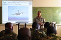 U.S. Air Force Lt. Col. June Oldman, a flight nurse with the Oklahoma Air National Guard and mission director of MEDLITE 12, speaks to service members with the Botswana Defense Force prior to classroom 120806-F-BH151-015.jpg