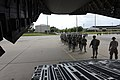U.S. Army paratroopers assigned to the 82nd Airborne Division line up as they prepare to board an Air Force C-17 Globemaster III aircraft assigned to the 8th Airlift Squadron June 27, 2013, before a mission as 130627-F-QA406-003.jpg