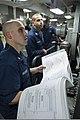 U.S. Navy Sonar Technician (Surface) 2nd Class Arthur DeCato, left, and Sonar Technician (Surface) 2nd Class Jacob Cooper run system checks before conducting a training exercise in the AN-SQR-19 TACTAS sonar 131029-N-VC236-049.jpg