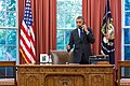 U.S. President Barack Obama talks on the telephone with Oklahoma Governor Mary Fallin following the 2013 Moore tornado.jpg