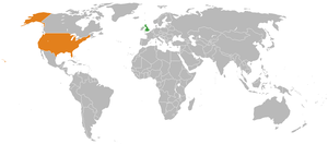 Map indicating locations of UK and USA