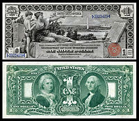 "$1 Silver Certificate, Series 1896, Fr.224, depicting allegory entitled ""History Instructing Youth"""