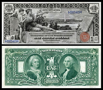 "United States one-dollar bill - Famous 1896 ""Educational Series"" $1 Silver Certificate"