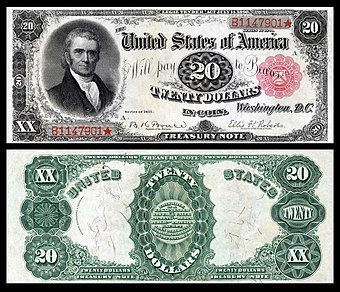 Marshall on the 1890 $20 Treasury Note, one of 53 people depicted on United States banknotes US-$20-TN-1891-Fr-375a.jpg