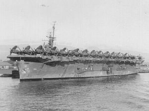 USS Bougainville (CVE-100) at Pearl Harbor, circa 1945