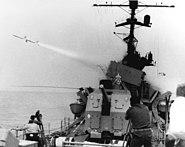USS Bradley (DE-1041) firing Sea Sparrow testing BPDMS