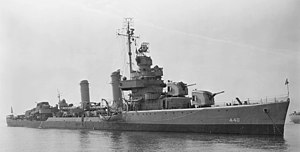 USS Ericsson (DD-440) at anchor in September 1943.