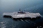USS Midway (CV-41) leaving Yokosuka, Crew spelling Sayonara