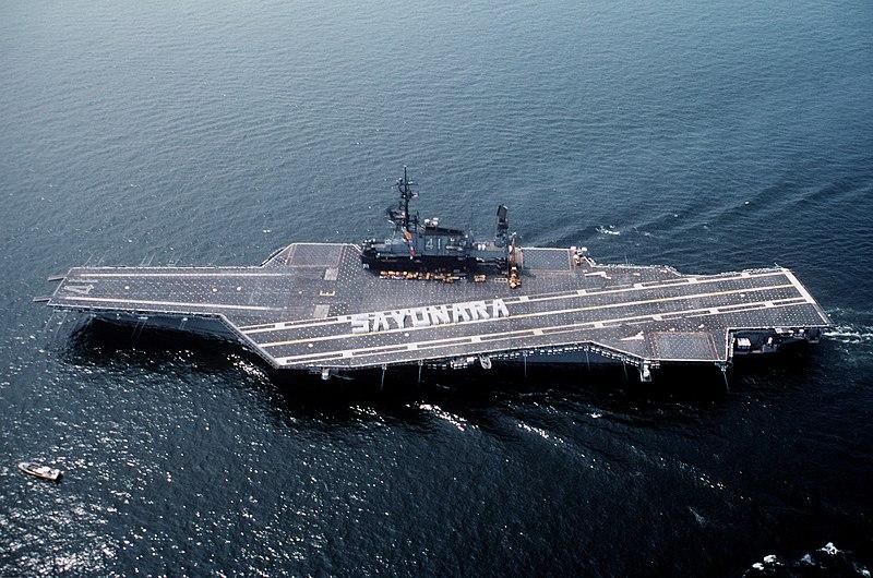 File:USS Midway (CV-41) leaving Yokosuka, Crew spelling Sayonara.jpg
