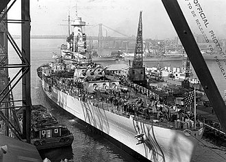 USS North Carolina (BB-55) - Fitting-out stage, 17 April 1941