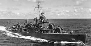 USS Sigsbee (DD-502) underway in the Pacific Ocean on 23 June 1944 (80-G-321648)