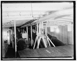 USS Vesuvius (1888) - The three dynamite guns below deck on Vesuvius