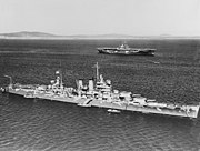 USS Wichita (CA-45) and USS Wasp (CV-7) in Scapa Flow in April 1942