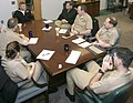 US Navy 040211-N-4204E-008 Cryptologic Technician Technical 1st Class Michael Hettinger, answers questions at the Naval Personnel Development Command (NPDC) first Sailor of the Year (SOY) board under the revolution of training.jpg