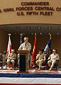 US Navy 070227-N-4205W-002 Vice Adm. Patrick Walsh addresses service members and guests during a change of command ceremony at Naval Support Activity, Bahrain.jpg