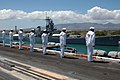 US Navy 070922-N-7128A-010 Sailors man the rails as nuclear-powered aircraft carrier USS Nimitz (CVN 68) passes the battleship USS Missouri (BB 63). Nimitz made a two-day visit to embark guests for a Tiger Cruise to San Diego.jpg
