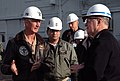 US Navy 080123-N-2100S-016 Chief of Naval Operations (CNO) Adm. Gary Roughead and USS Carl Vinson (CVN 70) Commanding Officer, Capt. Ted E. Carter discusses the progress of Carl Vinson's refueling complex overhaul during his vi.jpg
