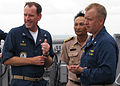 US Navy 090713-N-7058E-048 Commodore William Kearns III, Commander, Task Group 73.5, observes maneuvers with Royal Thai Navy Capt. Rassadang Teranet and Cmdr. Ed Thompson, commanding officer of the dock landing ship USS Harpers.jpg