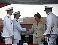 US Navy 090731-N-3090M-469 Former first lady and ship's sponsor Laura Bush congratulates Cmdr. James Gray on a successful command tour the Virginia-class attack submarine USS Texas (SSN 775).jpg