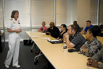 University of Phoenix - Rear Admiral Robin Graf, deputy commander of Navy Recruiting Command, discusses the U.S. Navy maritime strategy with military division employees at the University of Phoenix.